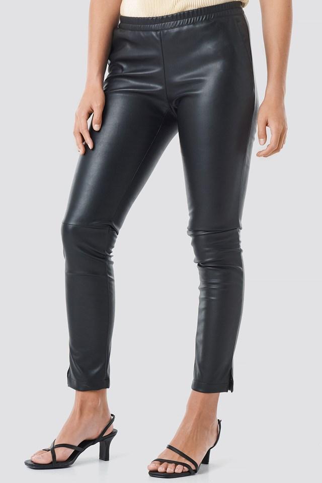 PU Elastic Waist Pants Black