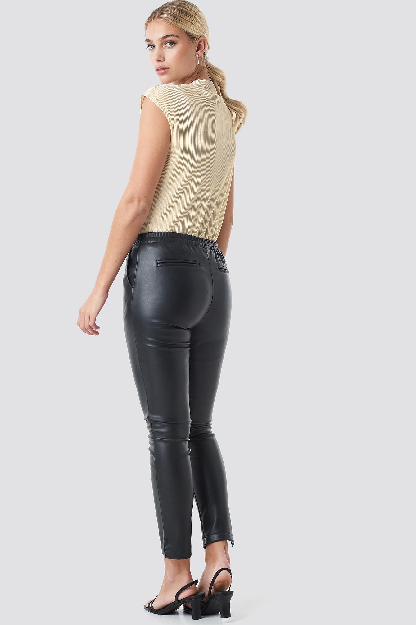 PU Elastic Waist Pants NA-KD.COM