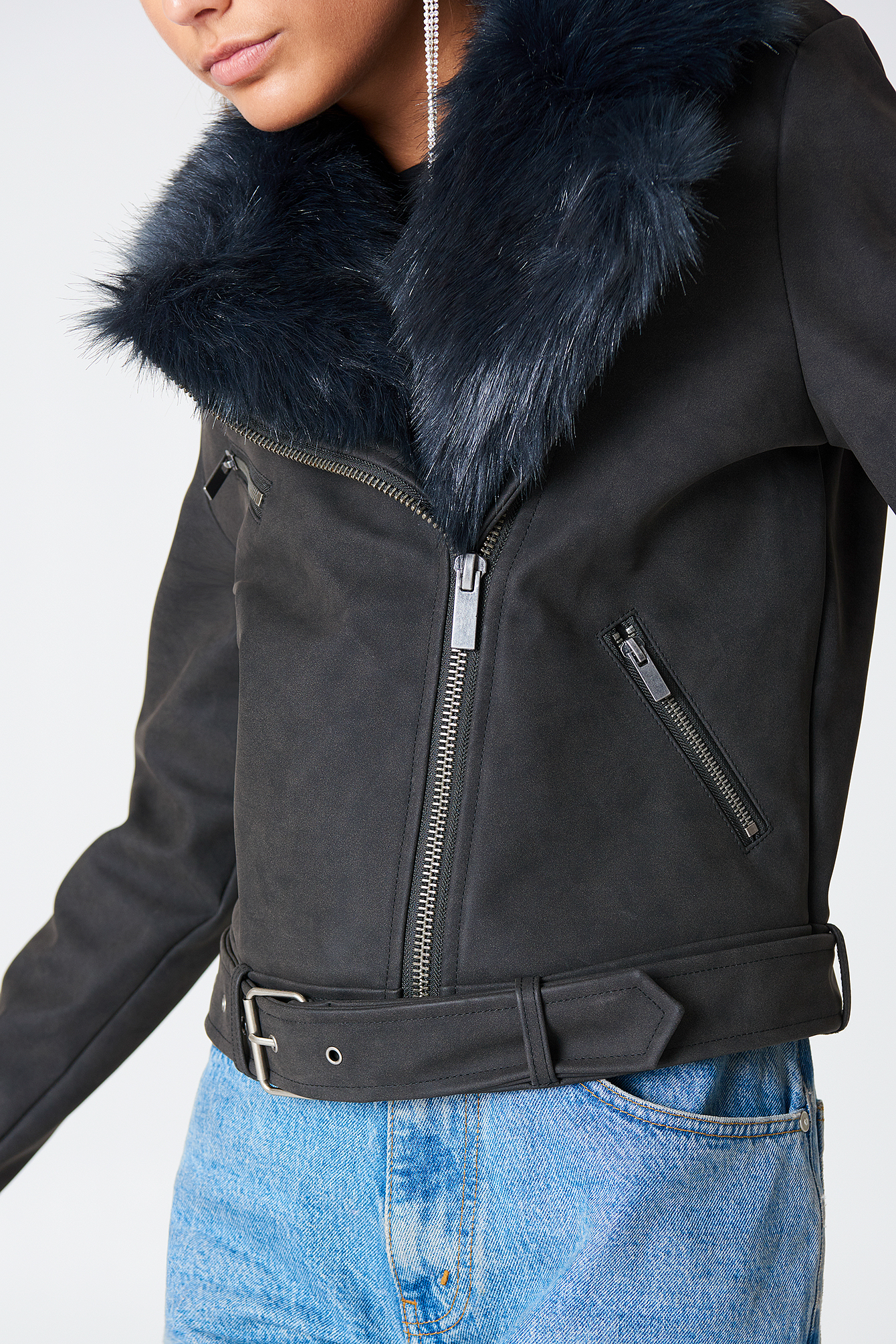 Black/DK Navy PU Jacket With Faux Fur