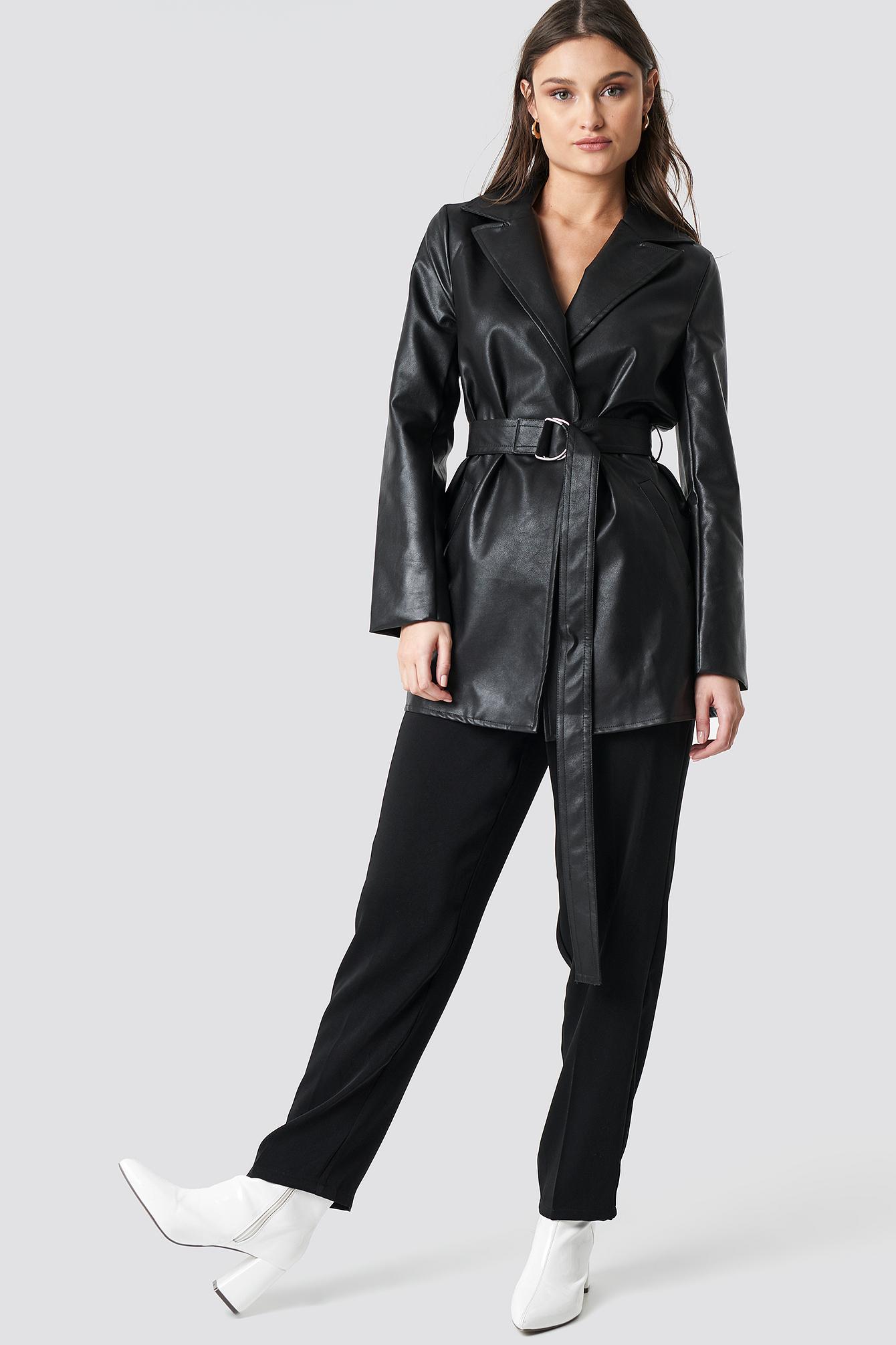 PU Leather Belted Jacket NA-KD.COM