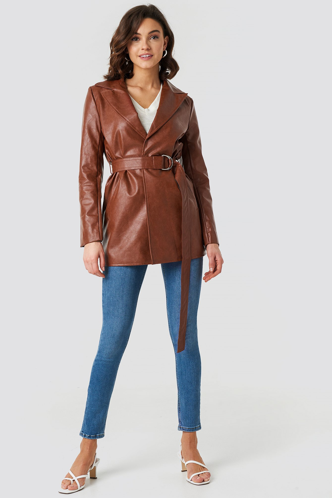 na-kd trend -  PU Leather Belted Jacket - Brown