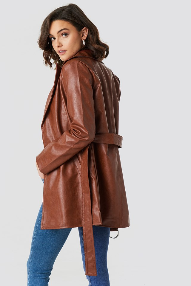 PU Leather Belted Jacket Burned Brown