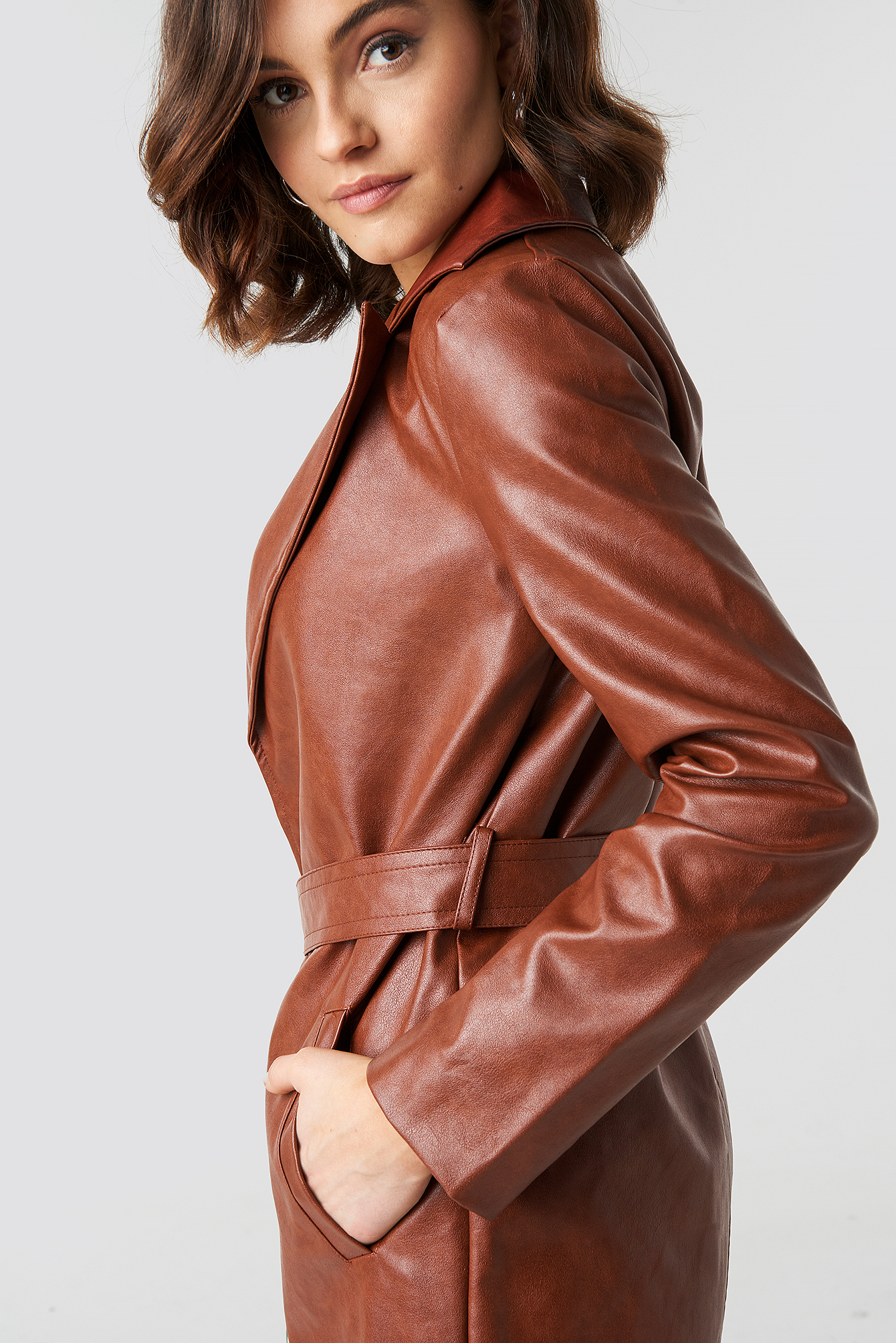 PU Leather Belted Jacket NA-KD.COM