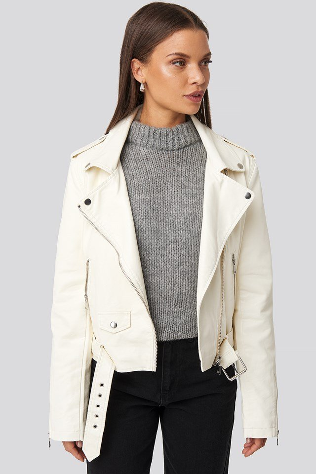 Pu Leather Biker Jacket Cream
