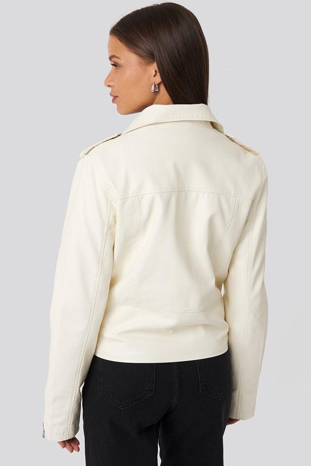 Pu Leather Biker Jacket Cream