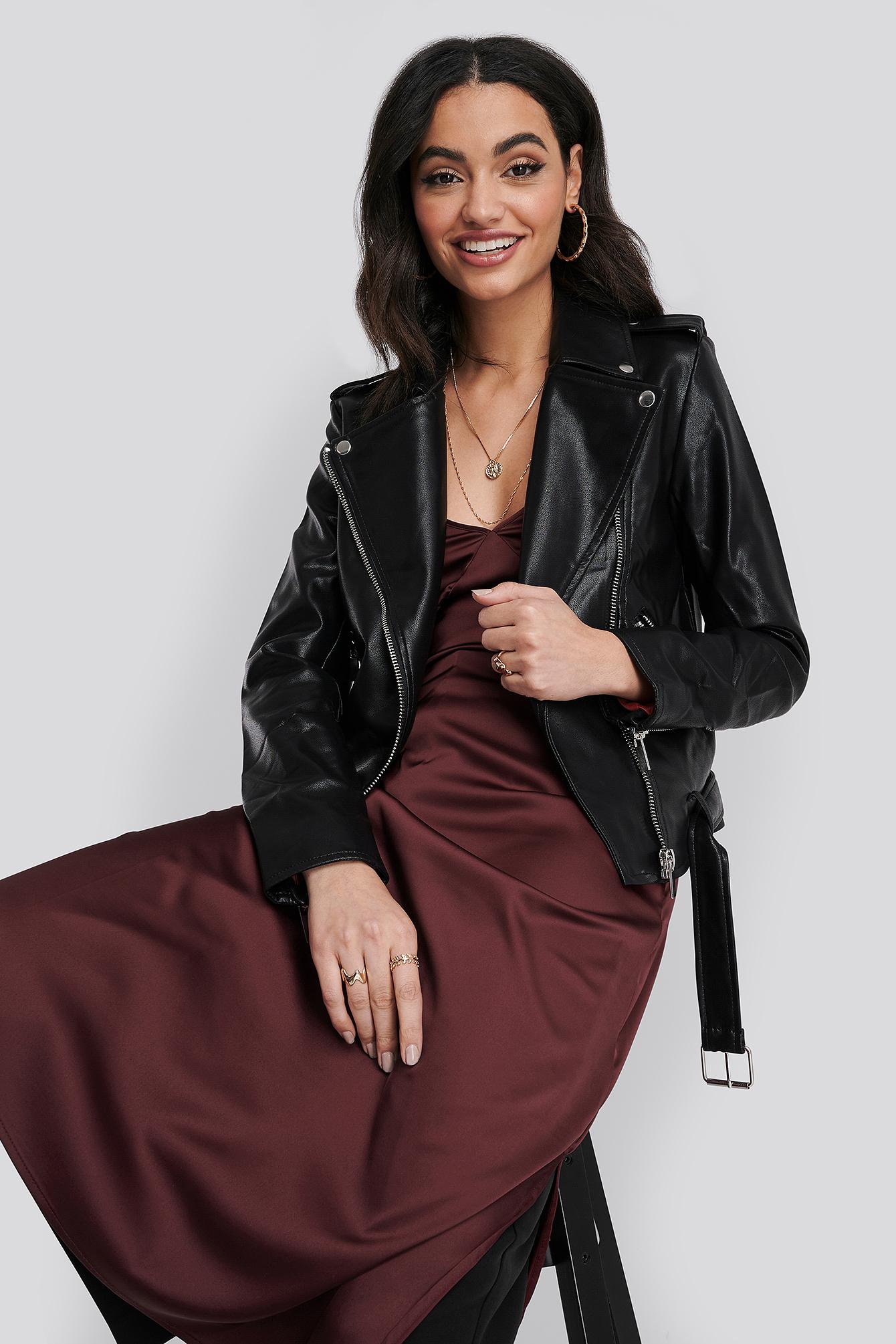na-kd trend -  Pu Leather Biker Jacket - Black