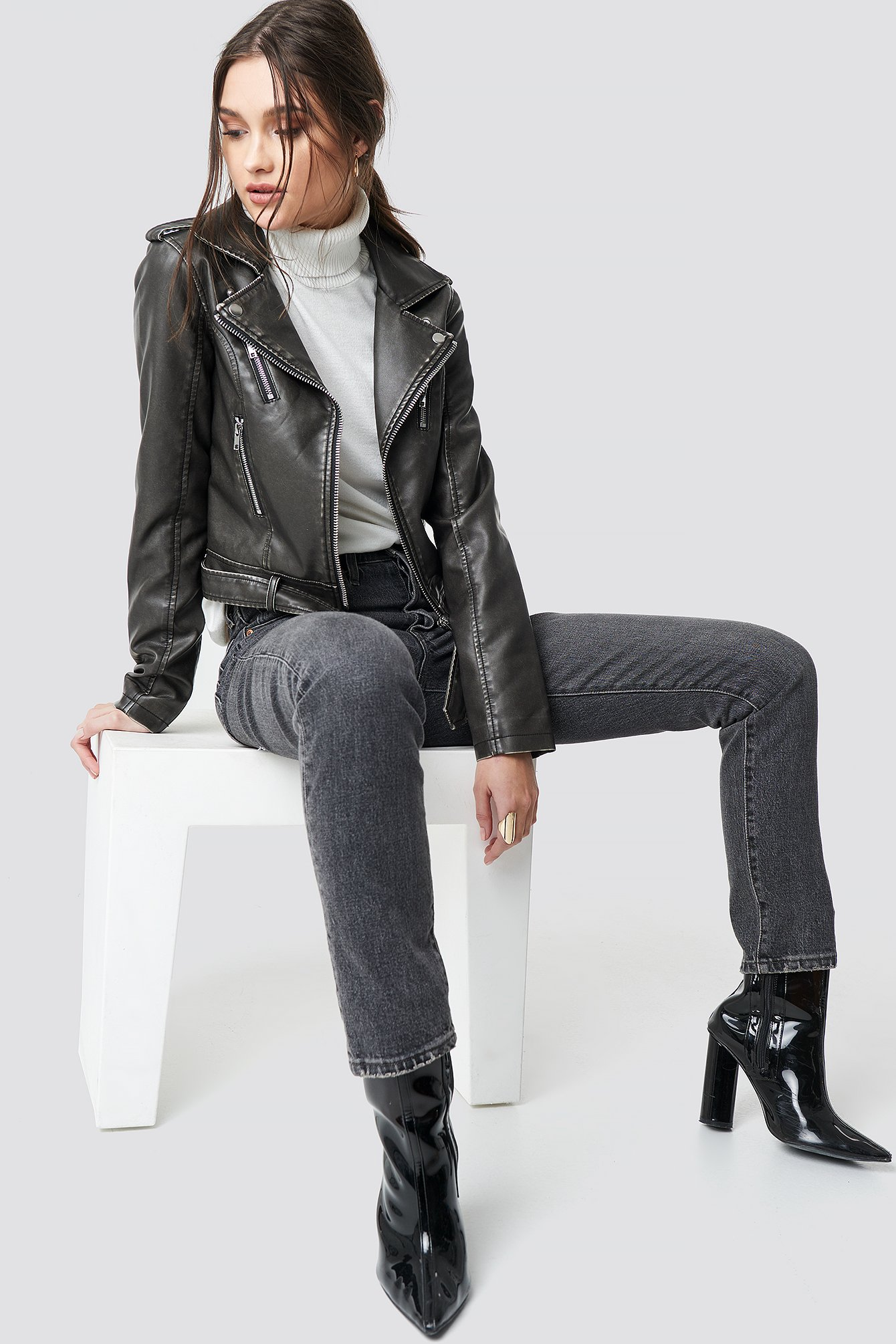Pu Leather Distressed Biker Jacket Washed Black by Na Kd Trend
