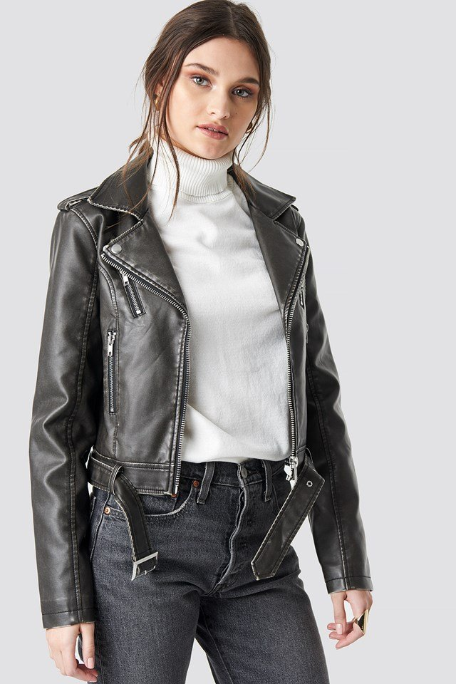 Pu Leather Distressed Biker Jacket Washed Black