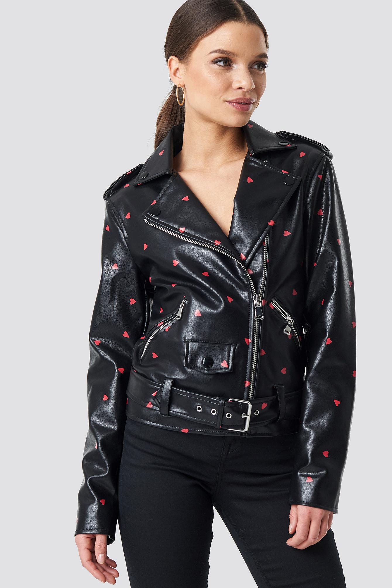 na-kd -  Pu Leather Heart Biker Jacket - Black