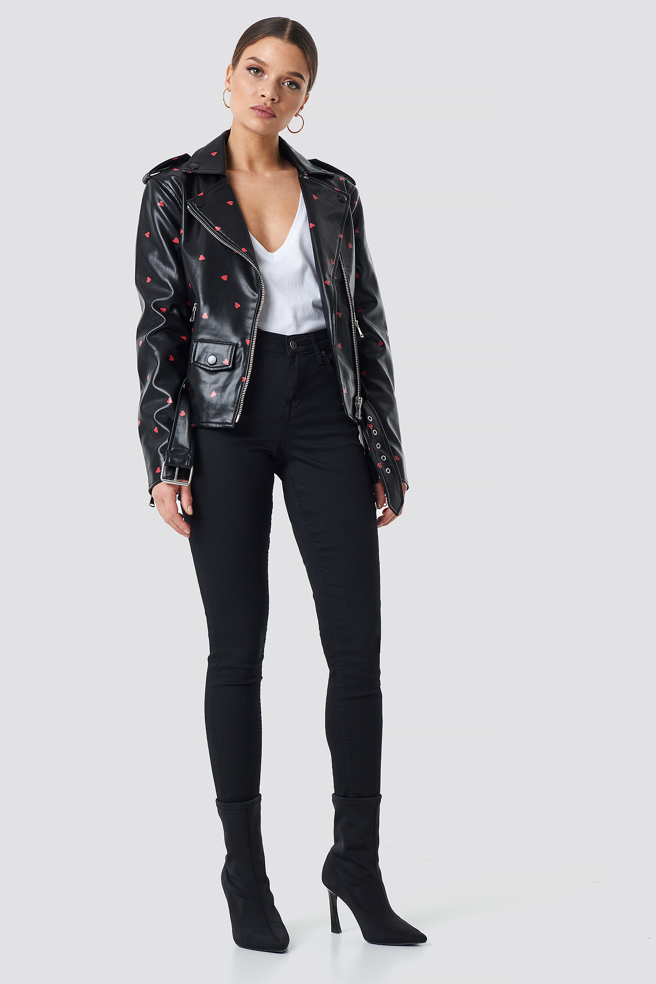 Pu Leather Heart Biker Jacket NA-KD.COM