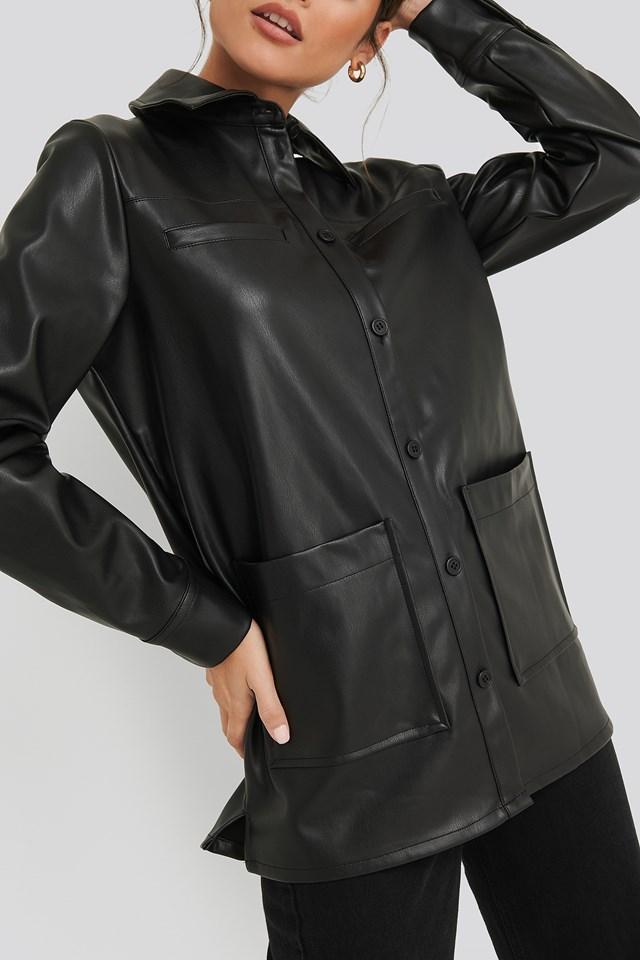 PU Loose Fit Overshirt Black