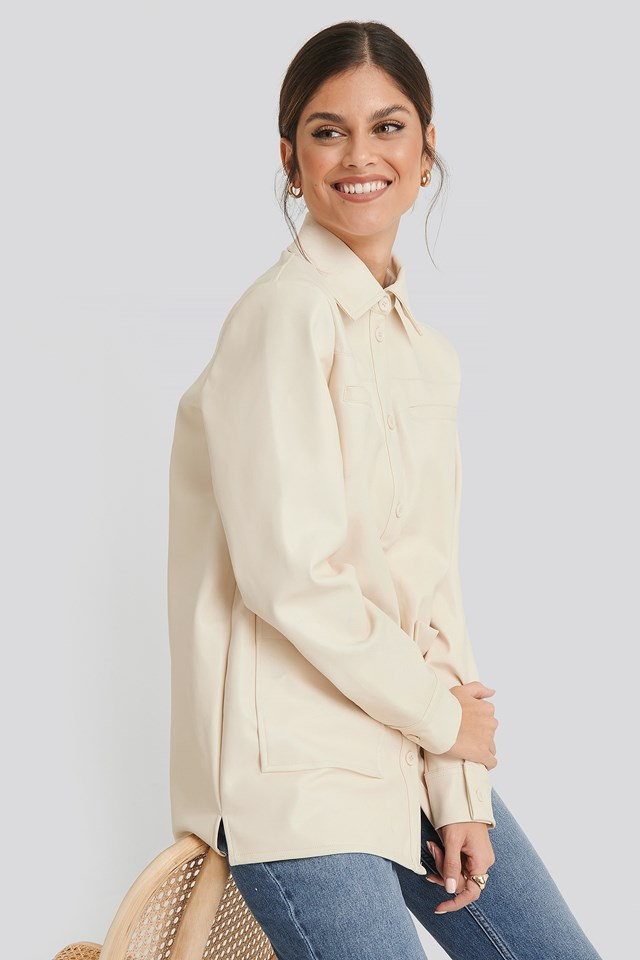 PU Loose Fit Overshirt Offwhite