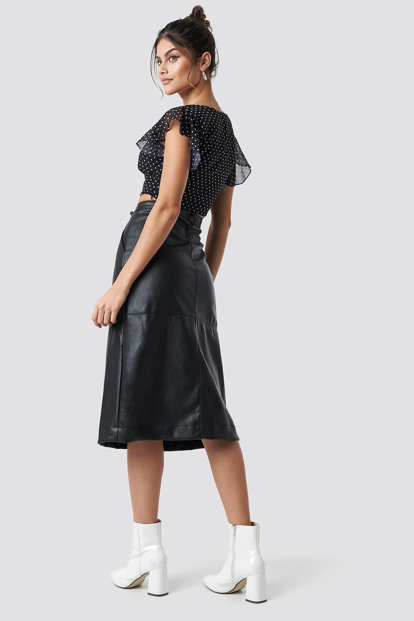 PU Midi Skirt NA-KD.COM