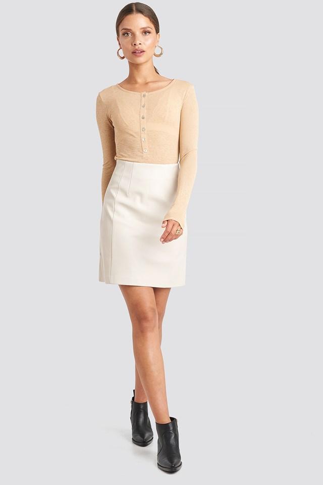 PU Mini Skirt Light Beige