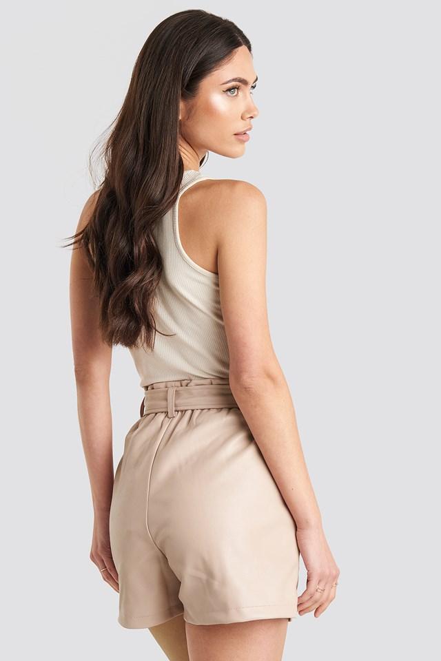 PU Paper Bag Waist Belted Shorts Pink