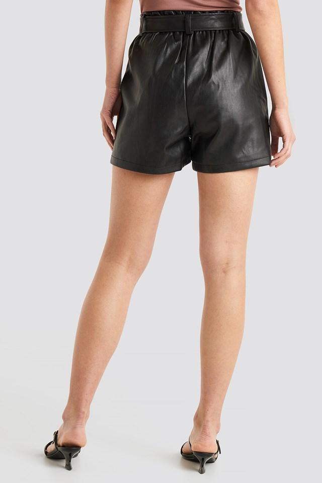 PU Paper Bag Waist Belted Shorts Black