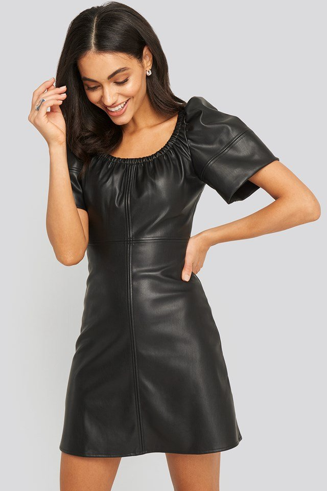 Pu Puff Sleeve Mini Dress Black