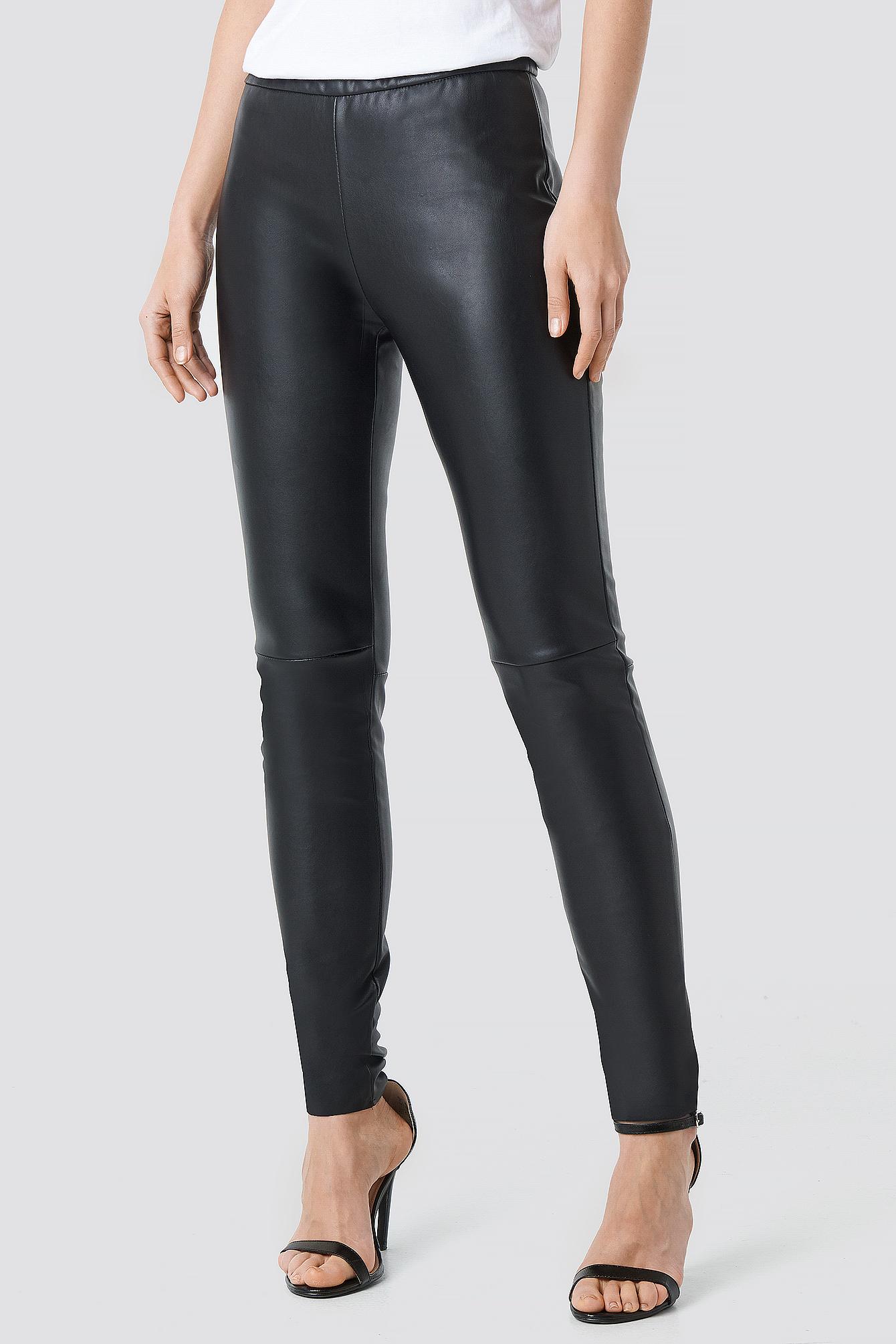 PU Raw Hem Skinny Leggings NA-KD.COM