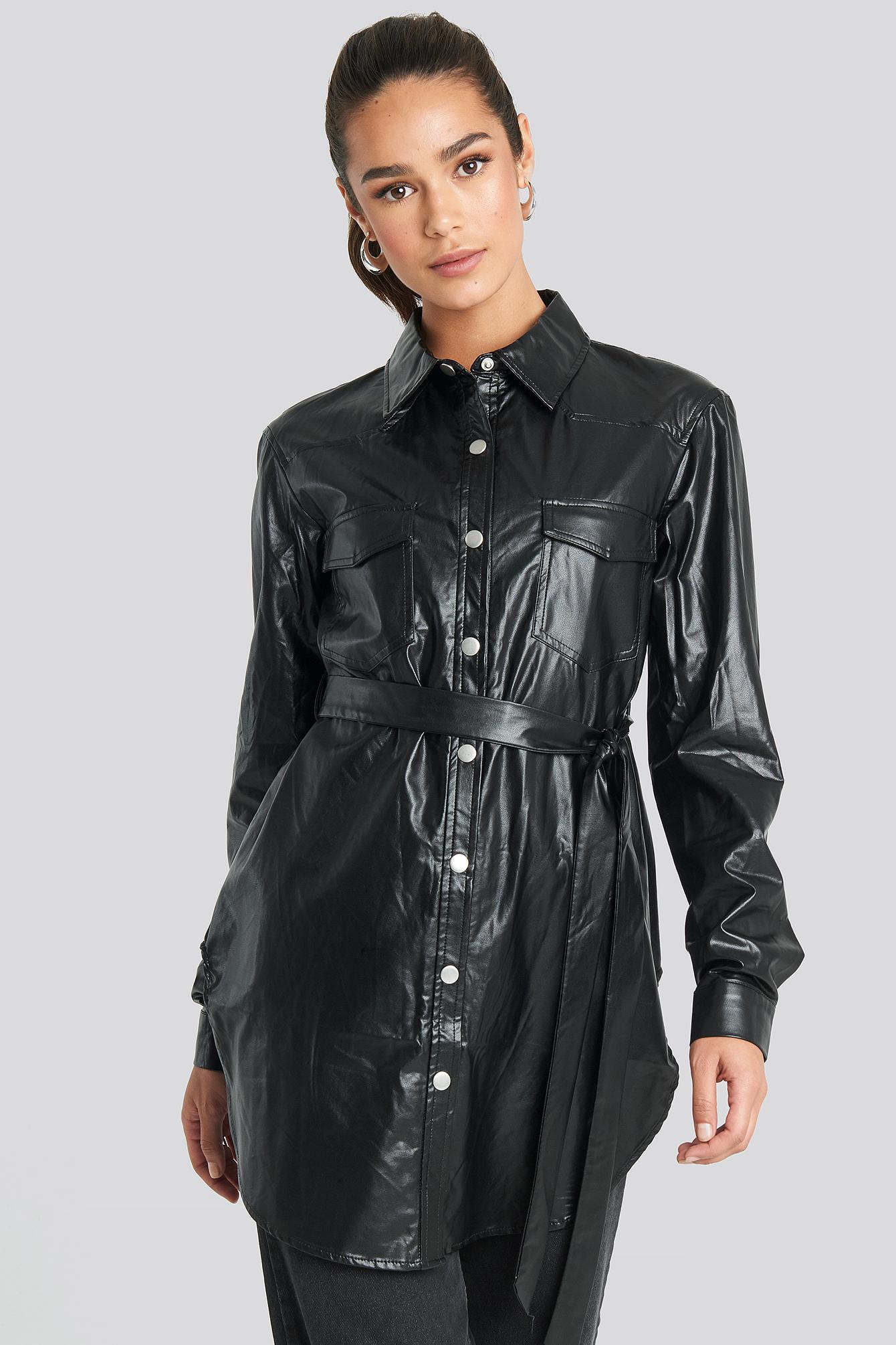 na-kd trend -  Pu Shirt Jacket - Black