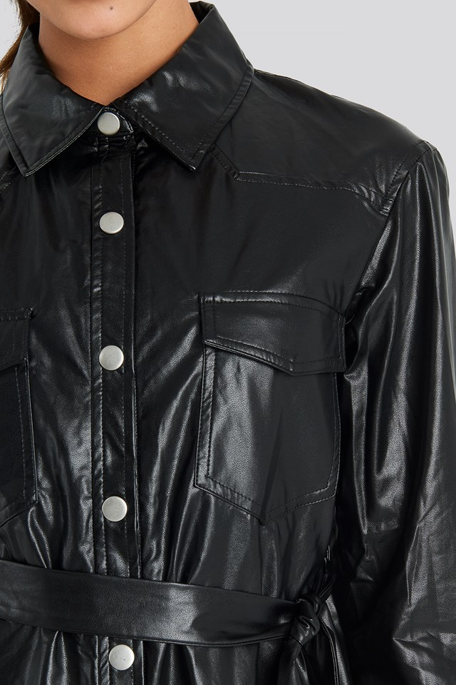 Pu Shirt Jacket Black
