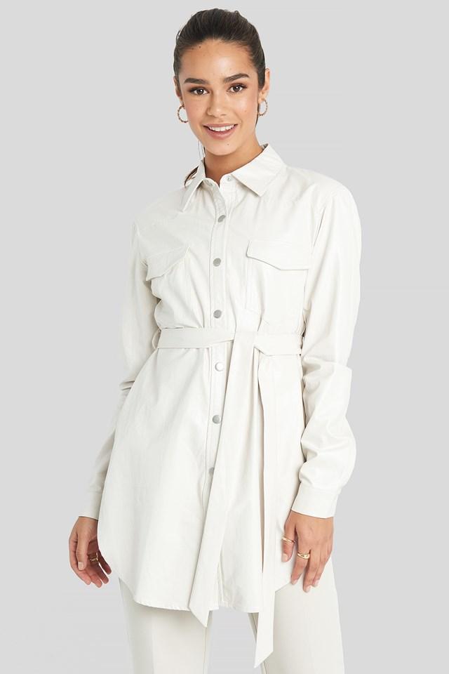 Pu Shirt Jacket Offwhite