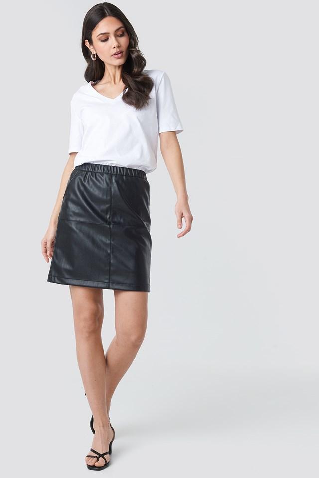 PU Zip Mini Skirt Black