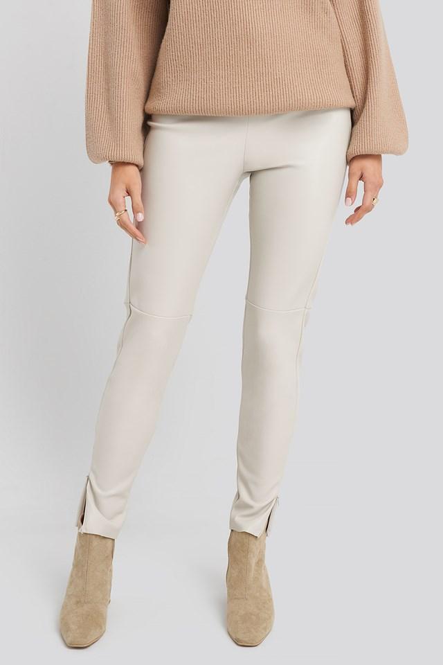 PU Zipper Pants Light Grey