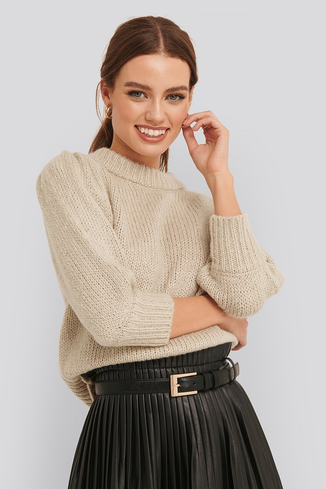 Puff LS Round Neck Knitted Sweater Beige
