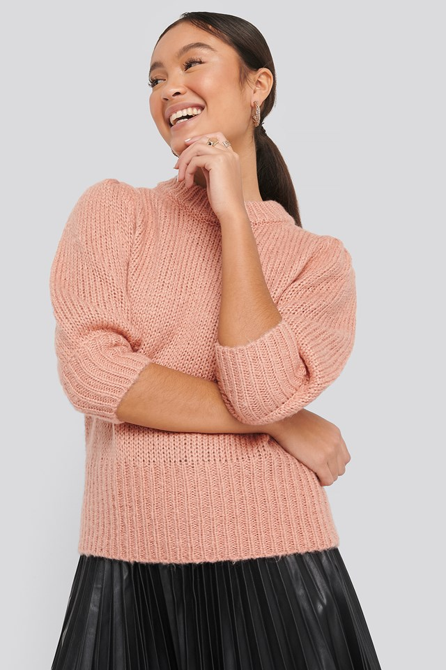 Puff LS Round Neck Knitted Sweater Dusty Pink