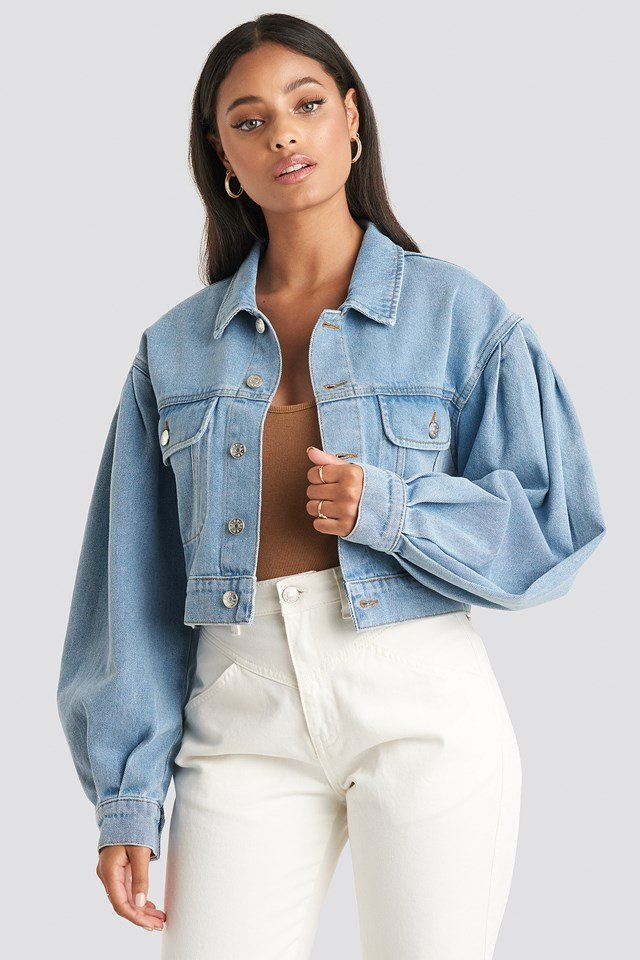 Puff Sleeve Oversized Denim Jacket Light Blue