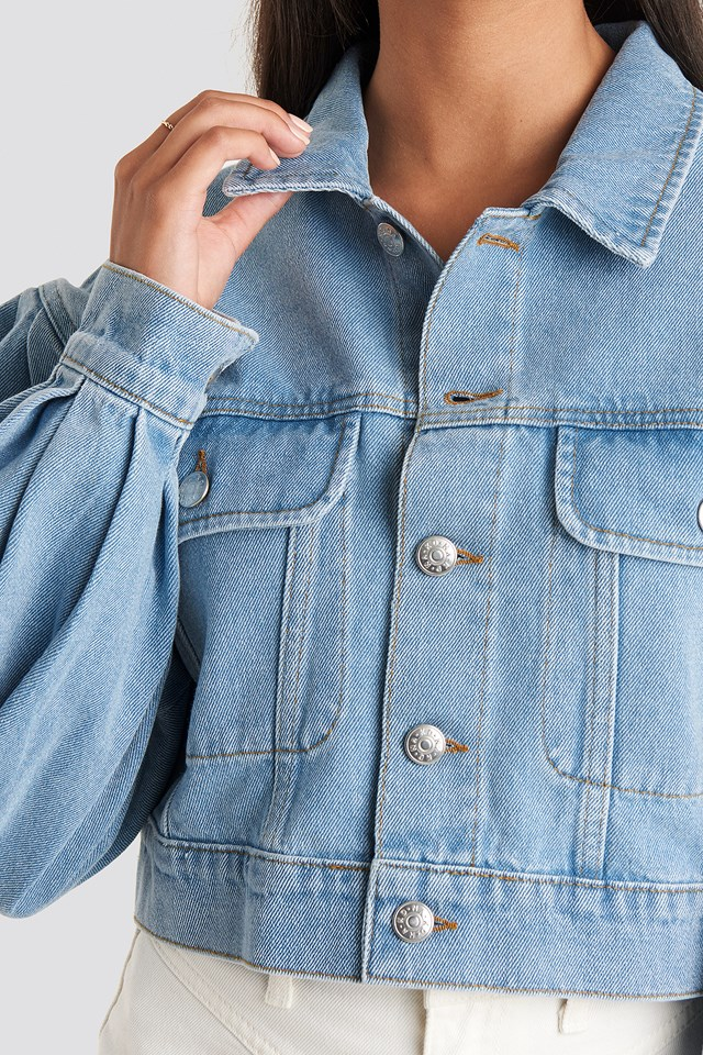 Puff Sleeve Oversized Denim Jacket Light Blue