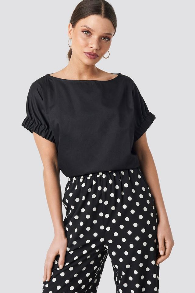 Puff Short Sleeve Blouse Black