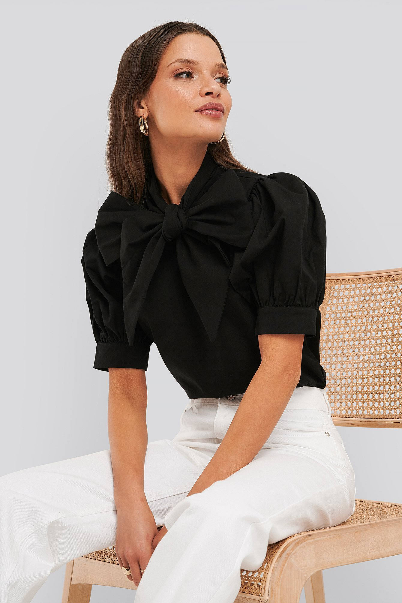 Deep Black Puff Short Sleeve Pussy Bow Shirt
