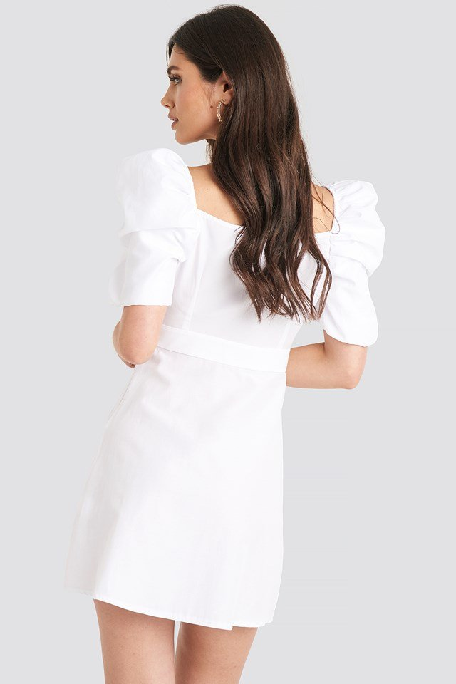 Puff Shoulder A-Line Dress White