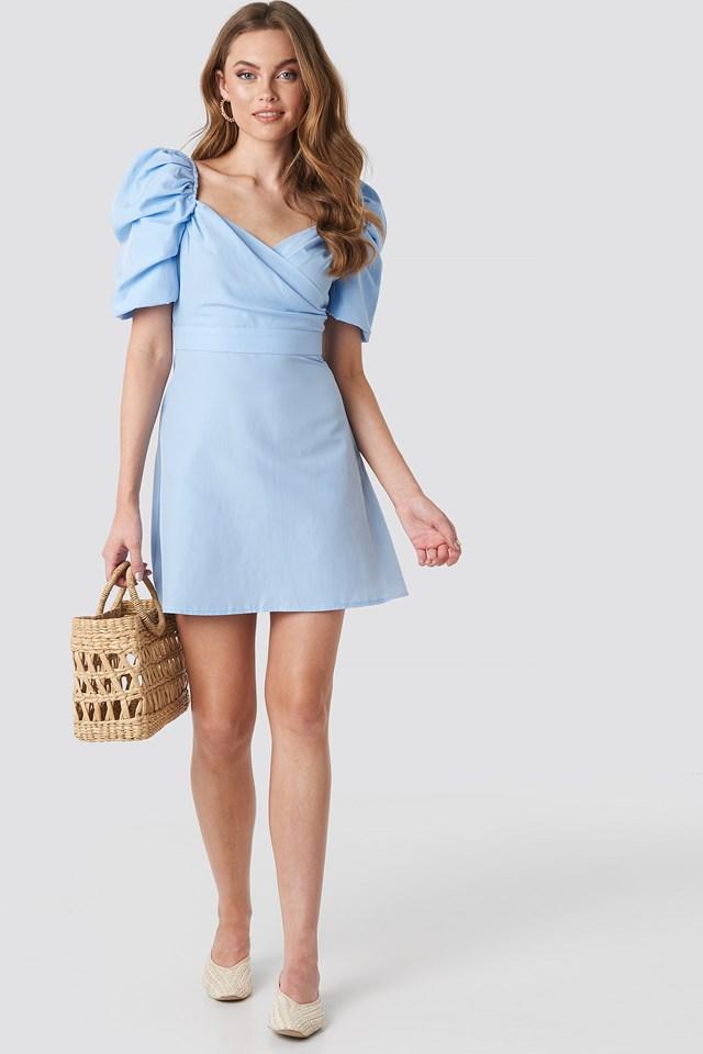 Puff Shoulder A-Line Dress Dusty Blue