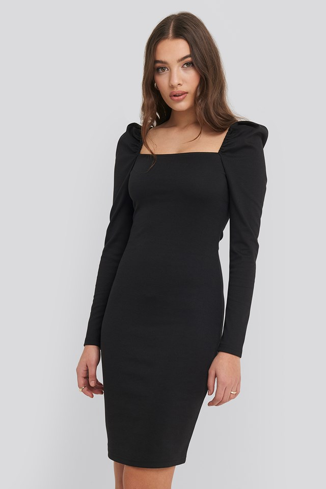 Puff Shoulder Bodycon Dress Black