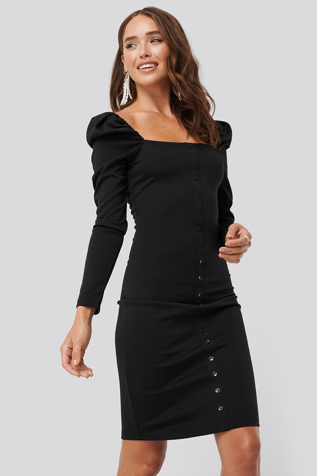 Puff Shoulder Buttoned Bodycon Dress Black
