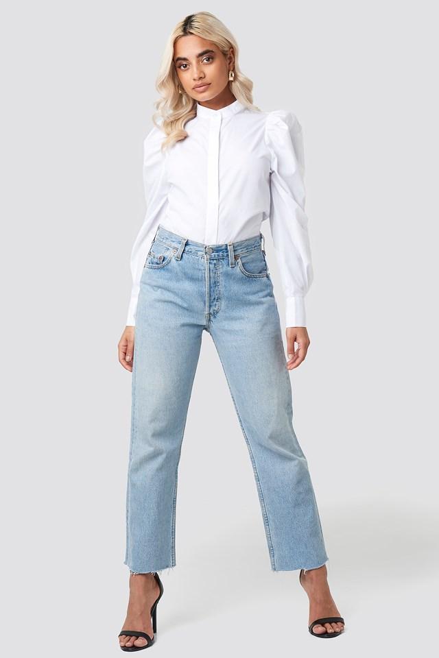 Puff Shoulder Cotton-blend Shirt White