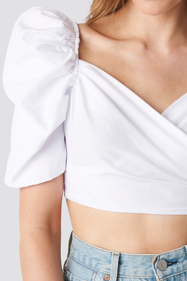 Puff Shoulder Crop Top White