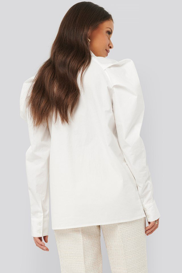 Puff Shoulder Shirt White