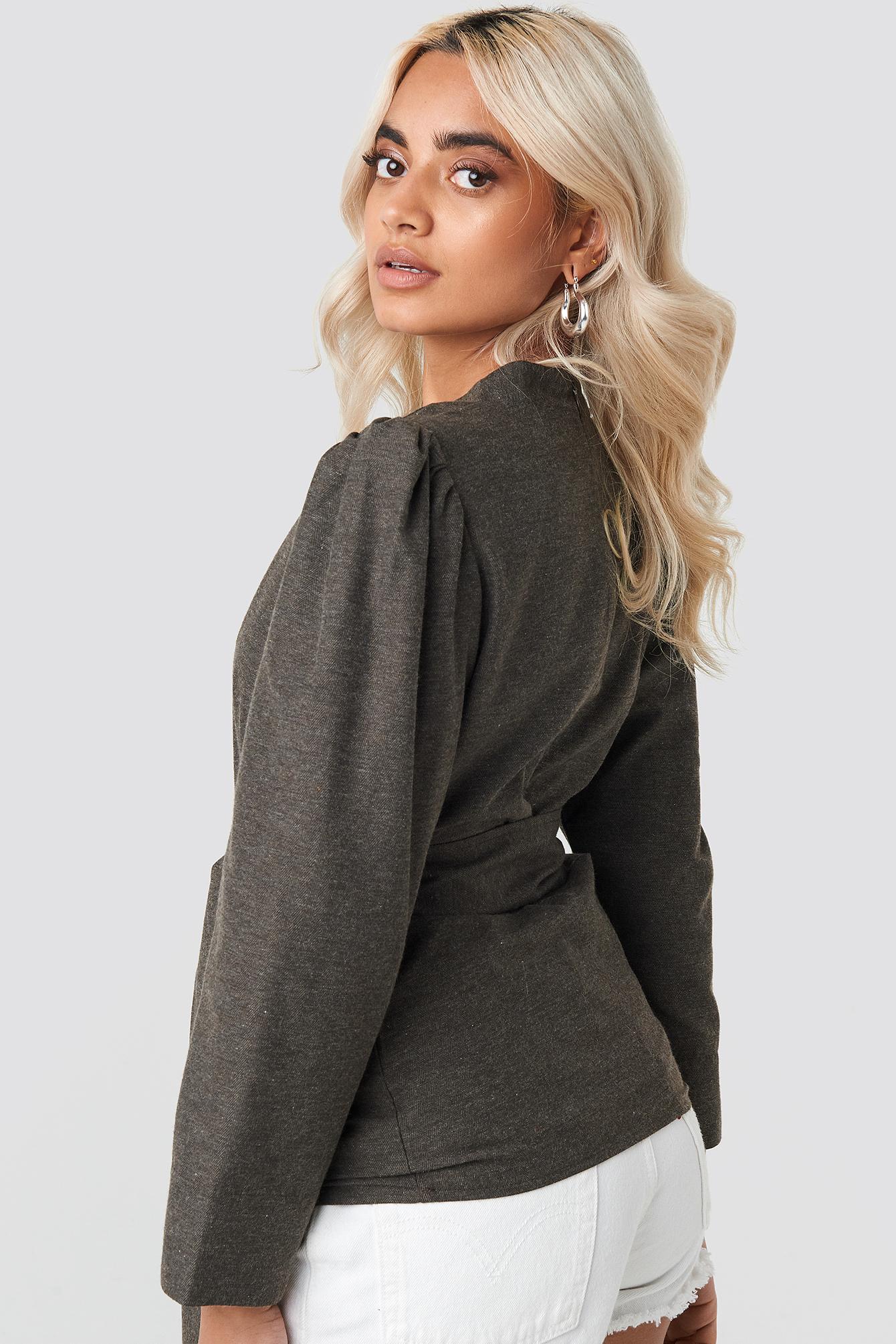 Puff Shoulder Tie Waist Blouse NA-KD.COM