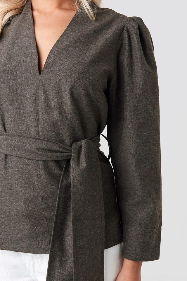 Puff Shoulder Tie Waist Blouse Grey Brown