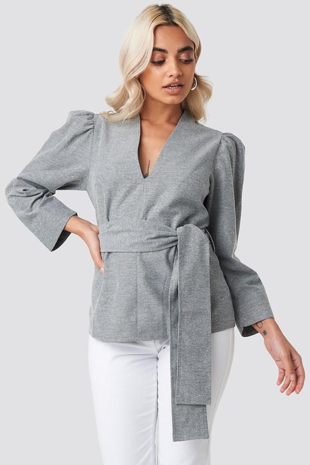 Puff Shoulder Tie Waist Blouse Grey