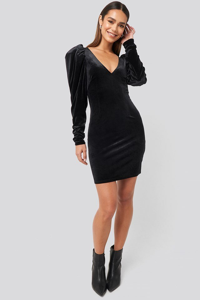 Puff Shoulder Velvet Dress Black