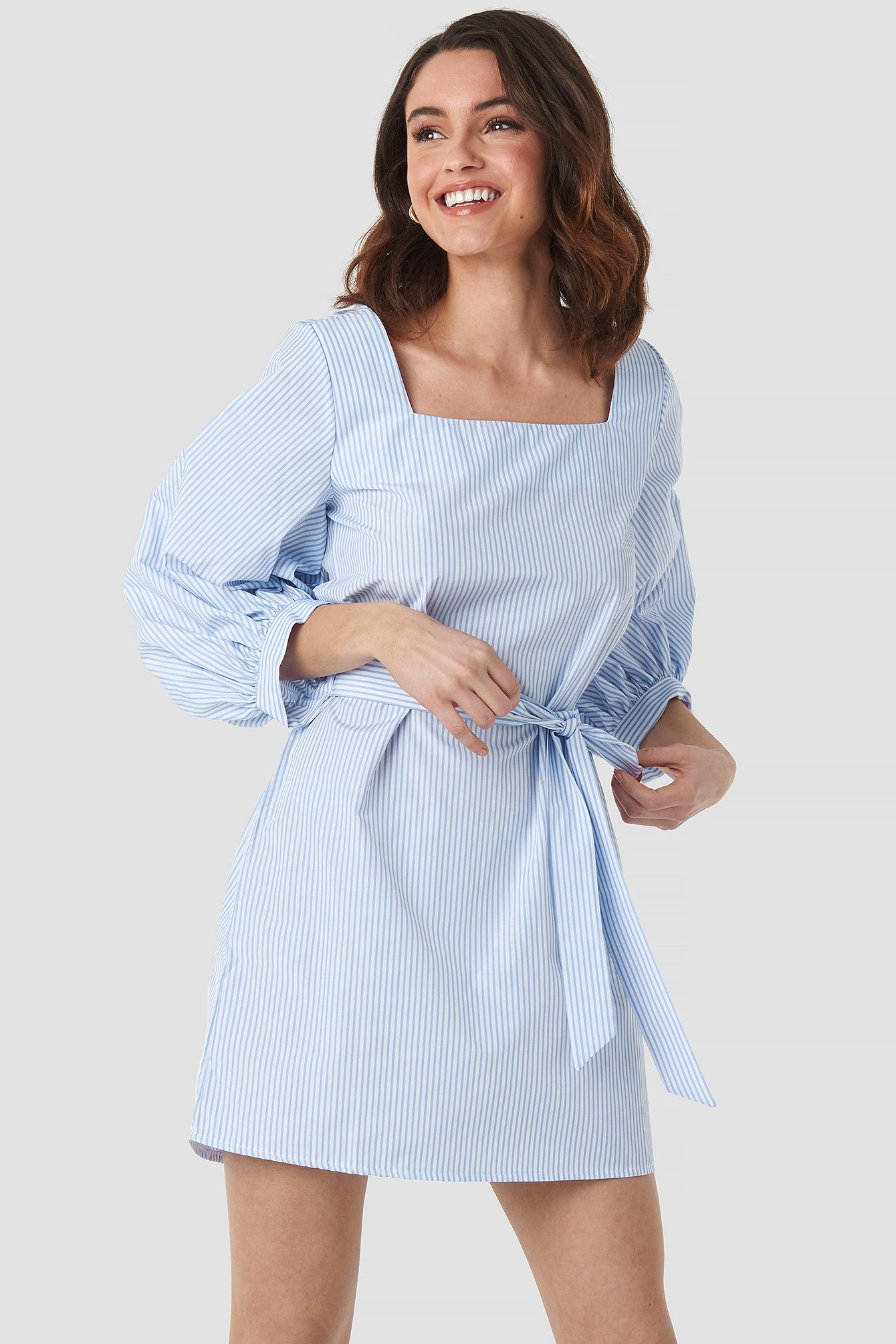 White/Blue Puff Sleeve Square Neck Tie Dress