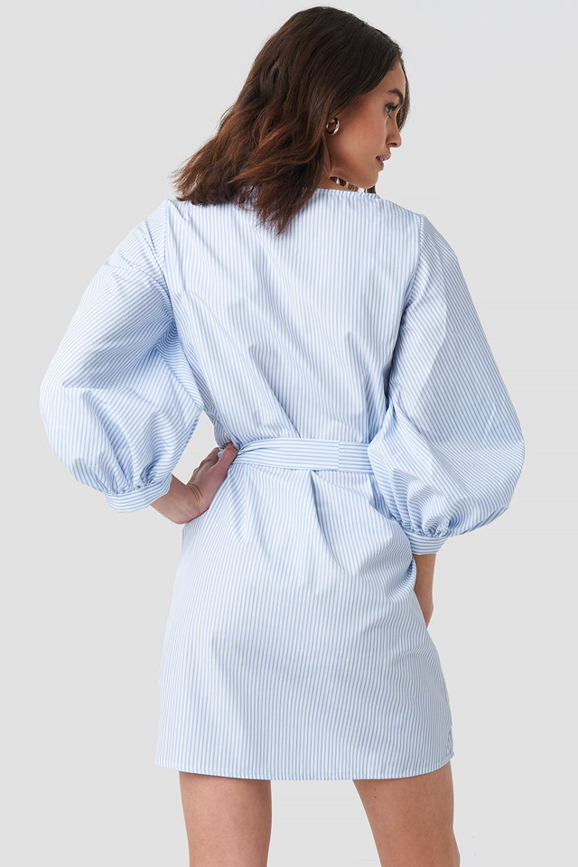 Puff Sleeve Square Neck Tie Dress White/Blue