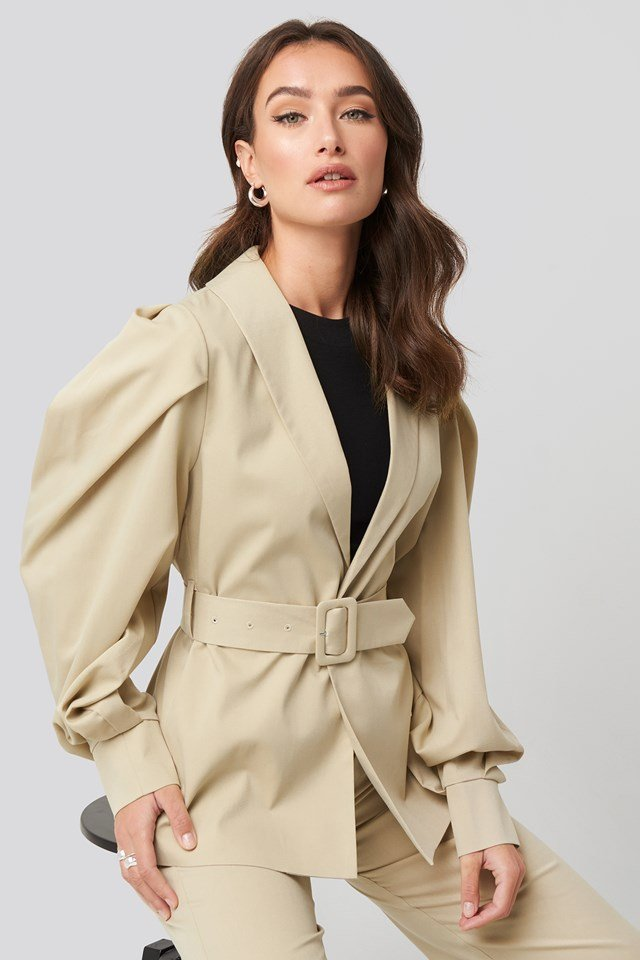 Puff Sleeve Belted Blazer NA-KD Trend