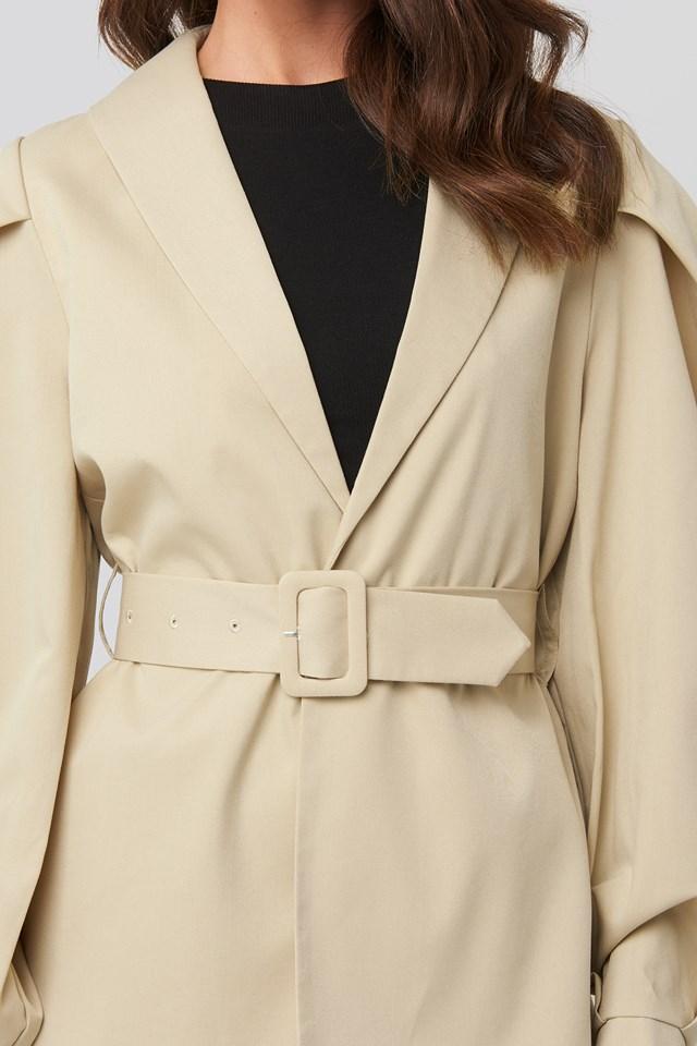 Puff Sleeve Belted Blazer Beige