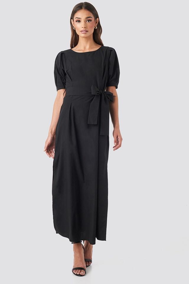 Puff Sleeve Belted Maxi Dress Deep Black