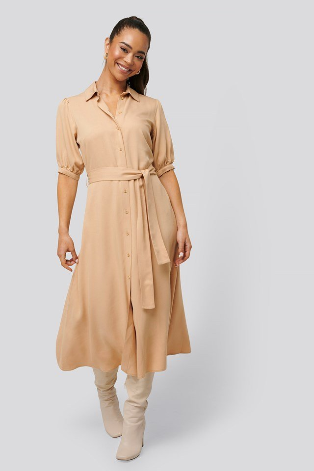 Puff Sleeve Belted Midi Dress Beige